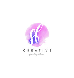 sb watercolor letter logo design with purple vector image