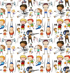 Seamless background with people doing many sports vector