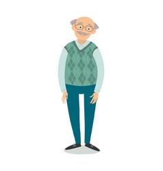 senior man standing old man wearing glasses vector image