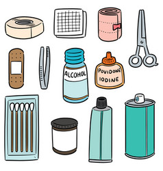 Set first aid kit vector