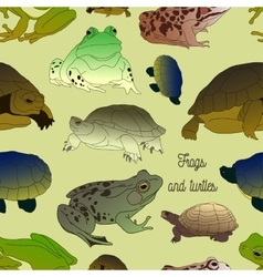 Set with frogs and turtless pattern vector