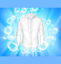 Shine white shirt surrounded by soap bubbles vector