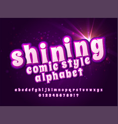Shining font pink alphabet with light effect vector
