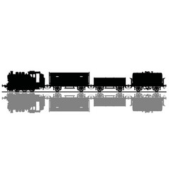 silhouette an old freight steam train vector image