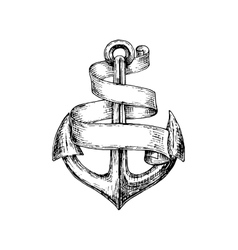 Sketch of old heraldic anchor with paper scroll vector