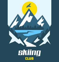 Skiing club eagle flying over mountains vector