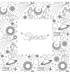 space doodle seamless frame vector image