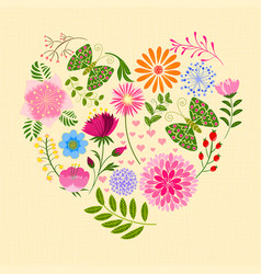 springtime colorful flower and butterfly in heart vector image