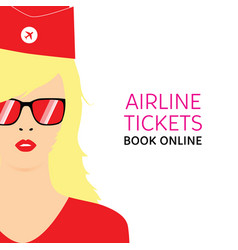 stewardess blonde in red uniforms with booking vector image