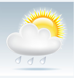 Sun and raining clouds weather web icon vector