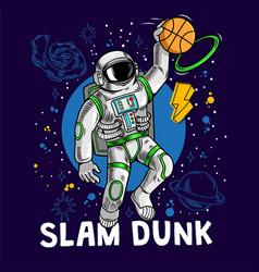 Super astronaut play basketball vector
