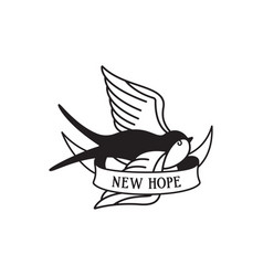 swallow tattoo with wording new hope traditional vector image