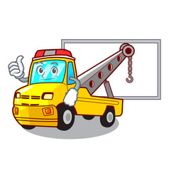 thumbs up with board cartoon tow truck isolated on vector image