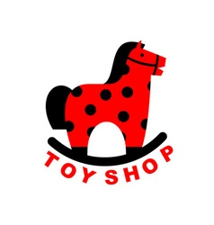 Toy Shop logo rocking horse Kids toy horse apples vector