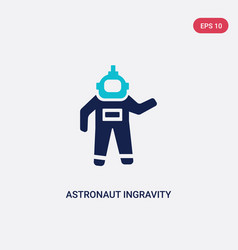 Two color astronaut ingravity icon from astronomy vector