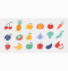 vegetable and fruit set on white vector image