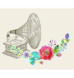 Vintage Gramophone Record player background vector