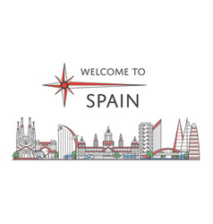 Welcome to spain poster in linear style vector