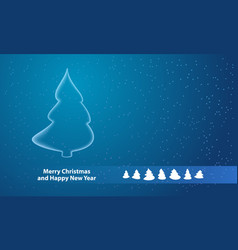 white christmas tree outline on snowy background vector image