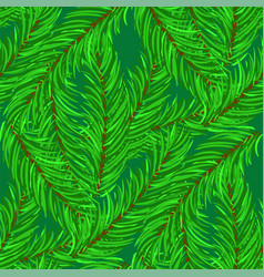 Winter fir green branches seamless pattern vector