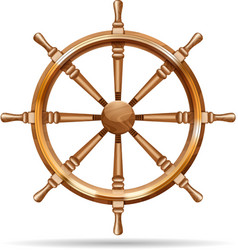 Antique wooden ship wheel vector image
