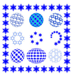 set round sphere with stars of david vector image vector image
