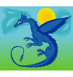 Blue dragon in the sky vector image