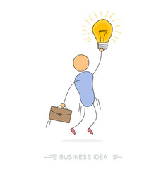 Business idea - man with bulb lamp vector