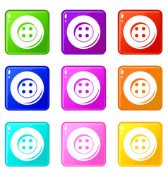 Button for sewing set 9 vector