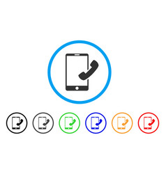 Call smartphone rounded icon vector