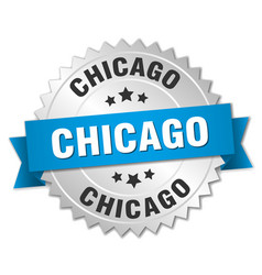 Chicago round silver badge with blue ribbon vector