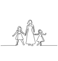 happy woman mother with two her daughters vector image vector image