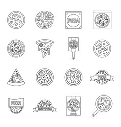 pizza icons set food outline style vector image