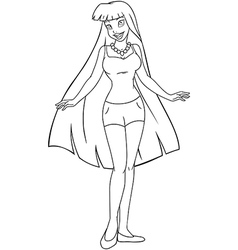 Teenage Girl In Tanktop And Shorts Coloring Page vector image vector image