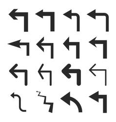 Turn Left Flat Icon Set vector image