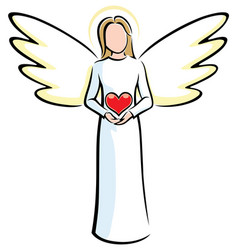 angel holding heart vector image vector image