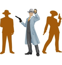 Asian police chief and people silhouettes vector image vector image