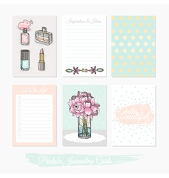 Printable set of journaling cards vector image vector image