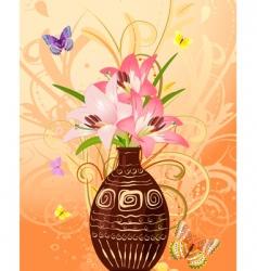vase of flowers with butterflies vector image vector image