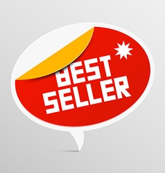 Best Seller Red Rounded Label Isolated on Light vector image
