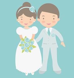 Cute bride and groom vector