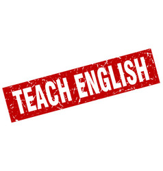 square grunge red teach english stamp vector image