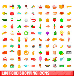 100 food shopping icons set cartoon style vector