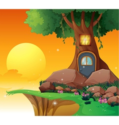 A tree house near the cliff vector