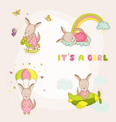 Baby girl kangaroo set - shower card vector