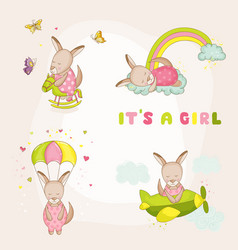 bagirl kangaroo set - bashower card vector image