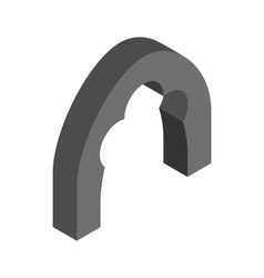 Black trefoil arch icon isometric 3d style vector
