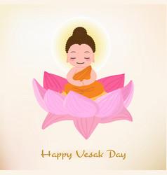 buddha enlighten on vesak day eps10 vector image