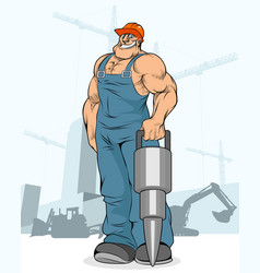 builder with a jackhammer vector image