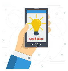 Businessman hand with yellow lamp on monitor vector